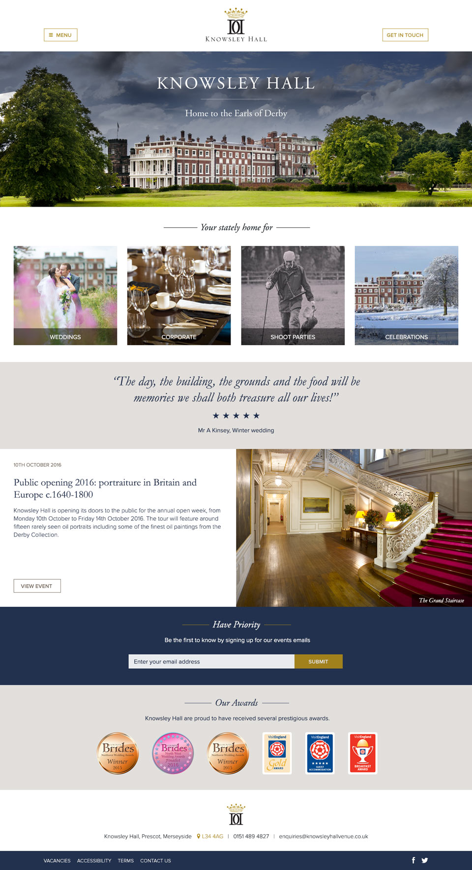 Knowsley Hall website