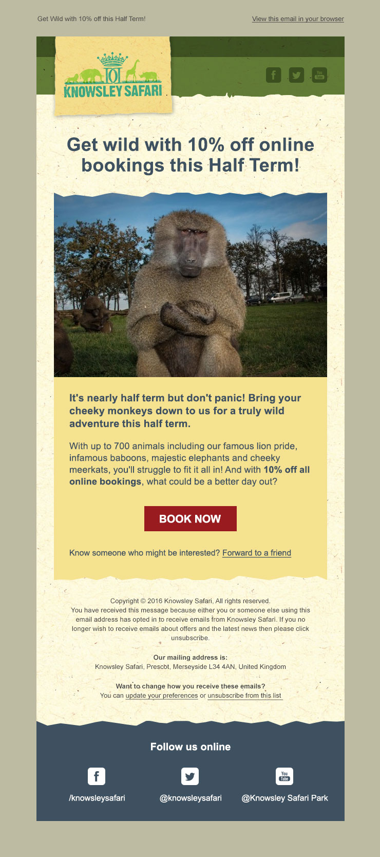 Knowsley Safari Marketing Email